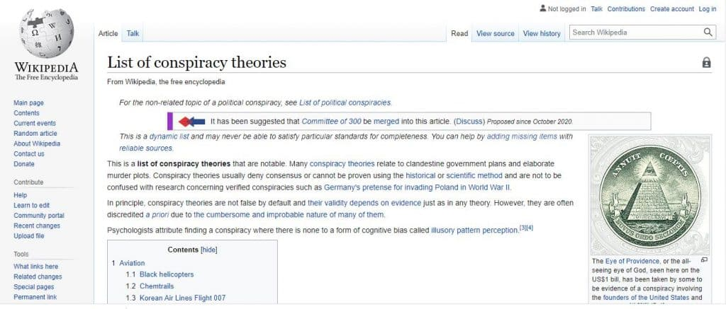 Conspiracy Theories List Via Wikipedia