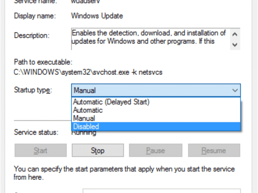Disable automatic updates and firewall
