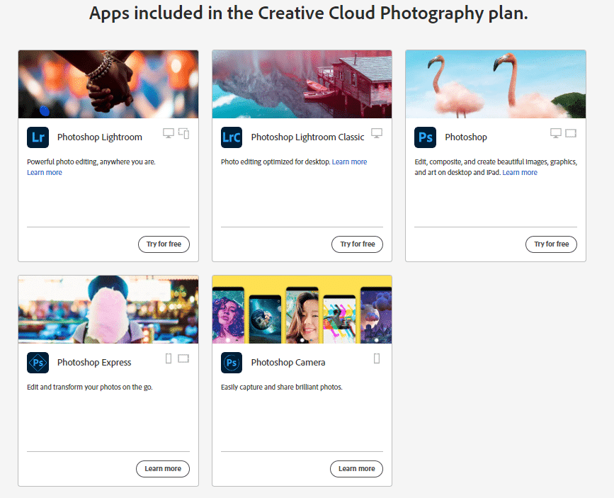 Apps included with Adobe Creative Cloud subscription plans